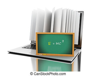 """3d Laptop computer with book pages and """"E=MC2"""" text"""