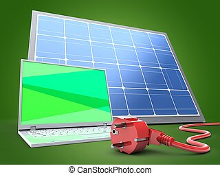 3d laptop computer with solar panel