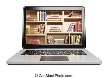 3d, laptop., digital, biblioteca, concepto