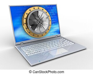 3d, laptop, e, abóbada, porta