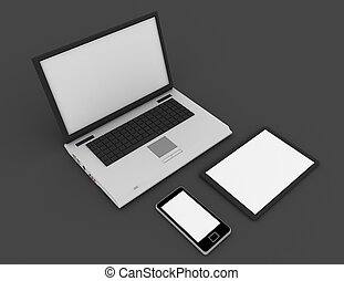 3D laptop, mobile phone and digital tablet pc computer