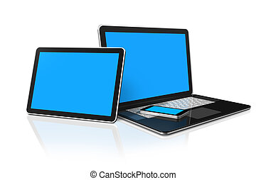 laptop, mobile phone and digital tablet pc computer - 3D...