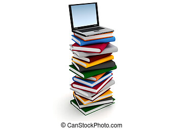 3d laptop on a pile of books