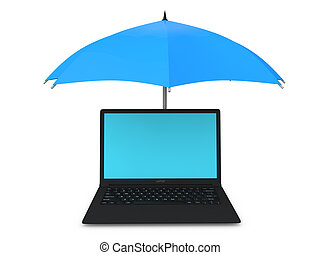 3d laptop under umbrella