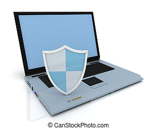 3d laptop with shield