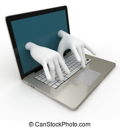 3d laptop with writing hands isolated on white