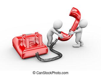 3d, las personas hablar, en, teléfono