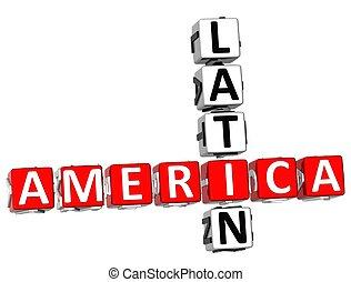 3D Latin America Crossword on white background