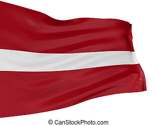 3D Latvian flag with fabric surface texture. White ...