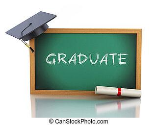 3d, lavagna, con, diploma, certificato, e, graduazione, cap.