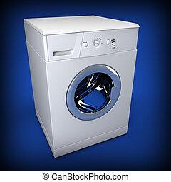 3d, lavando, fundo