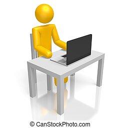 3d, lavorando, uno, computer