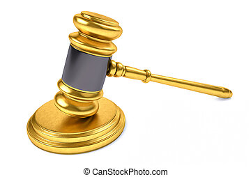 3D Law or Judge Concept Hammer.