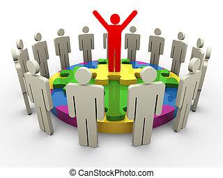 3d leader on circular shape puzzle - 3d successful team...