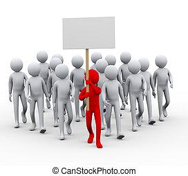 3d leader people protest strike - 3d illustration of group...