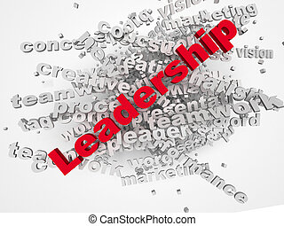 3d Leadership and teamwork word cloud illustration. Word collage