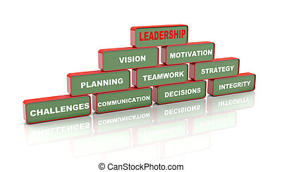 3d leadership concept - 3d Illustration of pyramid of...