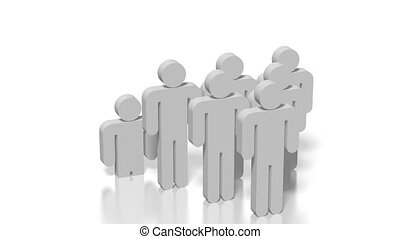 3D leadership concept - Three-dimensional cartoon characters...