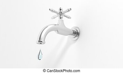 3D leaky water tap, isolated on white background.