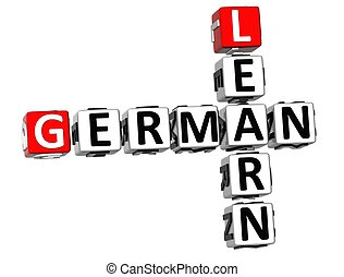 3D Learn German Crossword on white background