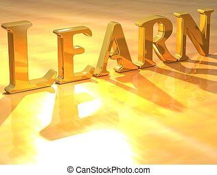3D Learn Gold text over yellow background
