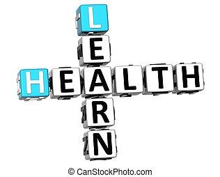 3D Learn Health Crossword on white background