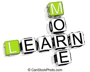 Learn More Crossword - 3D Learn More Crossword on white...