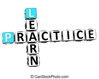 3D Learn Practice Crossword on white background