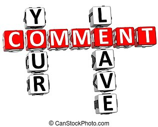 Leave Your Comment Crossword - 3D Leave Your Comment...