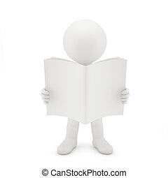 3d, lectura hombre, un, book.