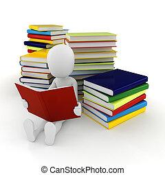 3d, lectura hombre, un, libro, blanco, plano de fondo