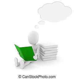 3d, lectura hombre, un, libro, con, burbuja, charla, sobre, el suyo, cabeza