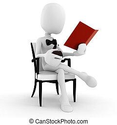 3d, lectura hombre, un, libro, y, pipa, aislado, onwhite