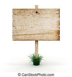 3d, leeg, houten, ondertekenen plank