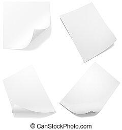 3d, leeg, papier, blad, troep