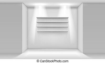 Witte Planken Aan De Muur.Winkel Planken Muur Lege Plank Vector Illustratie Witte