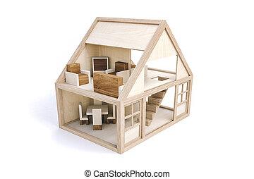 3d, legno, casa, bianco, fondo