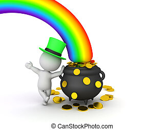 3D Leprechaun leaning on pot of gold at the end of the ...