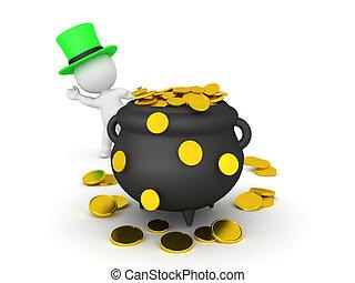 3D leprechaun waving from behind pot of gold. 3D Rendering ...