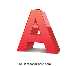 3d letter A - 3d red letter A isolated white background