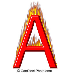 3D Letter A on Fire