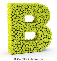 3D letter B made from tennis balls