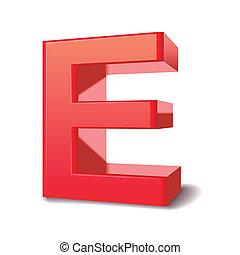 3d letter E - 3d red letter E isolated white background