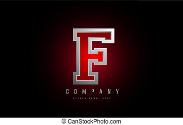 3d letter F logo grey metal metallic red alphabet for company icon design
