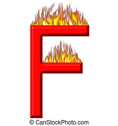 3D Letter F on Fire