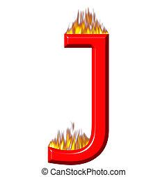 3D Letter J on Fire