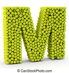 3D letter M made from tennis balls