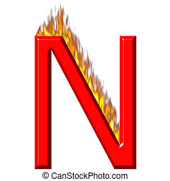 3D Letter N on Fire
