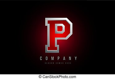 3d letter P logo grey metal metallic red alphabet for company icon design