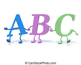 "3d letters ""ABC"" with arms and legs that walk hand in hand,..."